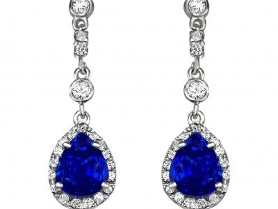 עגילי יהלומים ספיר כחול