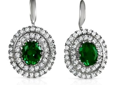 עגילי וינטג' עיצוב דיאנה עם יהלומים ואבן מרכזית מרובעת מסוג אמרלד ירוקה