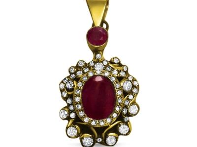 תליון זהב לאישה יהלומים רובי תכשיטי זהב עתיקים