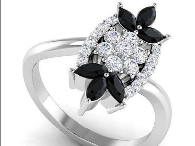 טבעת יהלומים וינטג יהלומים שחורים ולבנים