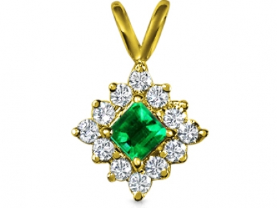 תליון זהב זהוב אבן חן אמרלד