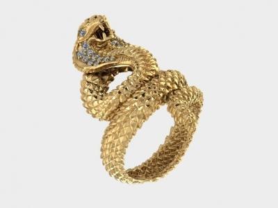 תליון נחש קוברה זהב ויהלומים