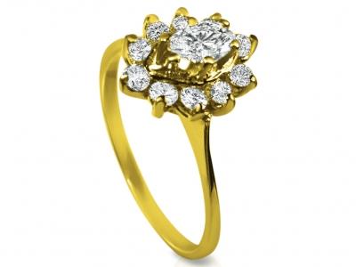 טבעת רטרו זהב ויהלומים