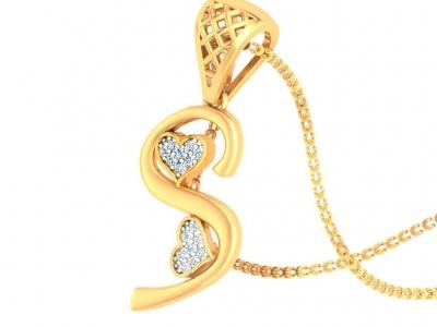 תליון זהב צהוב אות שם בעיצוב לבבות יהלומים