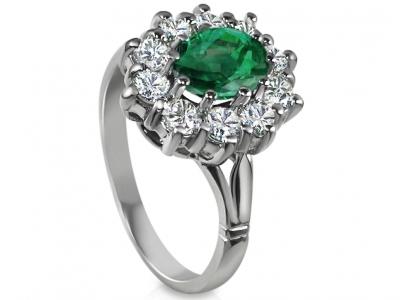 טבעת וינטז טבעות דיאנה אבן ברקת אמרלד מסביב יהלומים