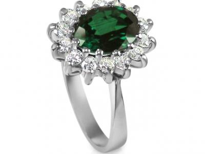 טבעת דיאנה אבן חן גדולה 2 קארט אמרלד