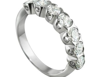טבעות יהלומים מיוחדות 7 יהלומים, טבעת זהב לבן
