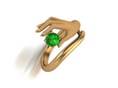 טבעת אבן חן יד מחזיקה אמרלד ברקת