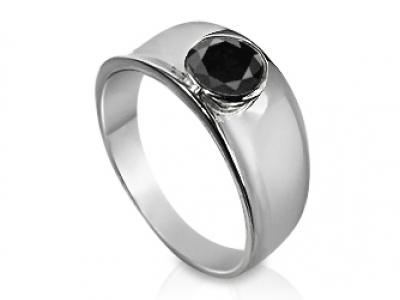 טבעת אירוסין 1 קראט יהלום שחור