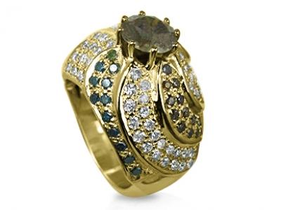 טבעת וינטג' יהלום שחור