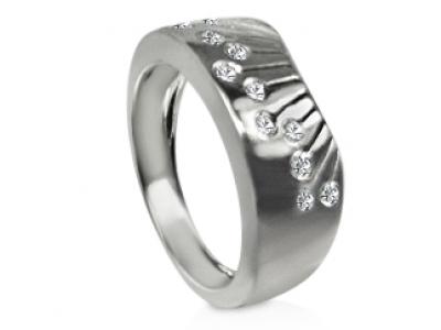 טבעת זהב ויהלומים בעיצוב אומנותי לגבר ולאישה