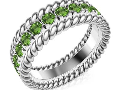 טבעת נישואין משובצת אבני חן
