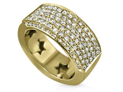 טבעת זהב צהוב 3 שורות יהלומים