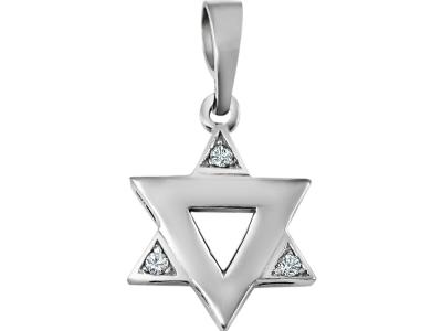תליון מגן דוד יהלומים זהב לבן