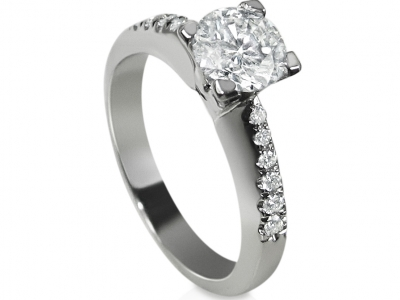 טבעת יהלומים זהב לבן
