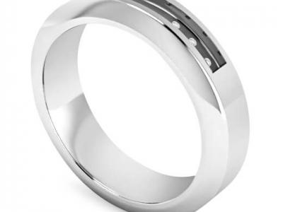 טבעת נישואין משובצת לגבר