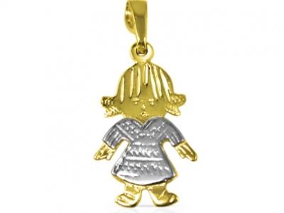 שרשרת זהב שתלויה עליה דמות בת