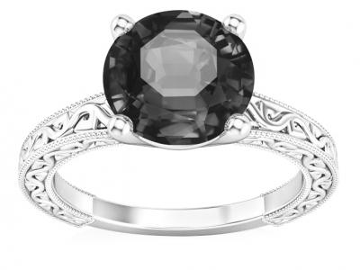 טבעת יהלום שחור בעיצוב וינטג'
