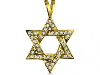 תליוני מגן דוד זהב צהוב ויהלומים