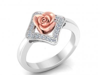 טבעת זהב ויהלומים בעיצוב פרח