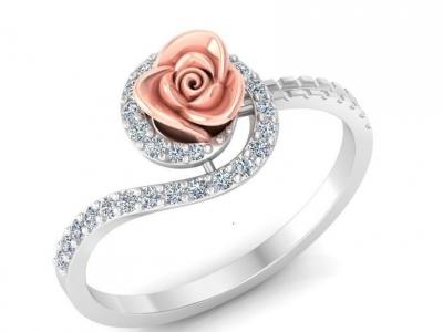 טבעת זהב ויהלומים מעוצבת עם פרח