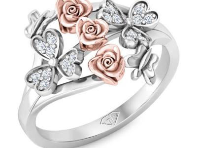 טבעת זהב ויהלומים בעיצוב פרחוני