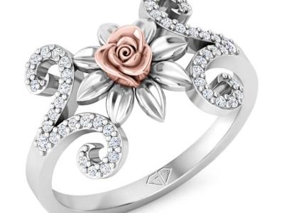 טבעת זהב ויהלומים בעיצוב וינטג' עם פרח