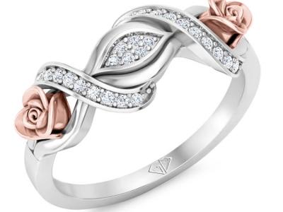 טבעת זהב ויהלומים וינטג' פרחונית
