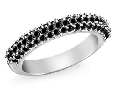 טבעת יהלומים שחורים 3 שורות