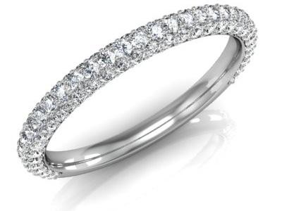 טבעת יהלומים 3 שורות יהלומים