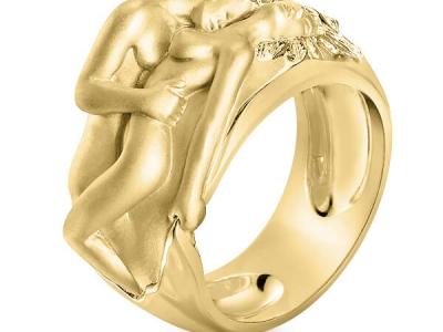 טבעת זהב מפוסלת עיצוב מיוחד גבר ואישה
