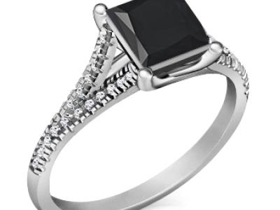 טבעת יהלום שחור מרובע