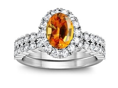 טבעת נישואין וטבעת אירוסין תואמות עם ספיר צהוב מרכזי
