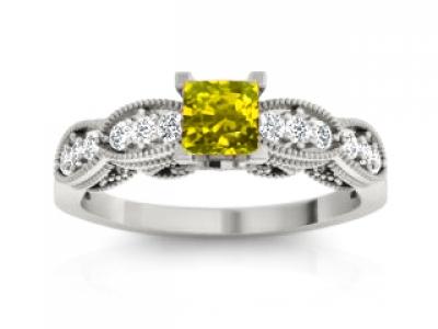 טבעת יהלומים עם אבן צהובה