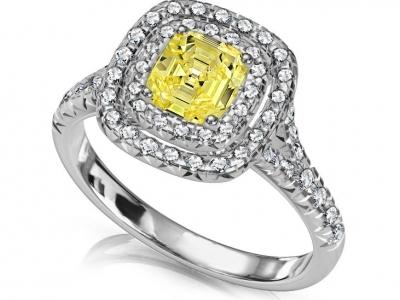 טבעות יהלומים מיוחדות, טבעת מרובעת יהלום צהוב
