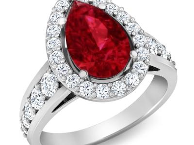 טבעת יהלומים גדולה עם אבן חן 10 קארט רובי