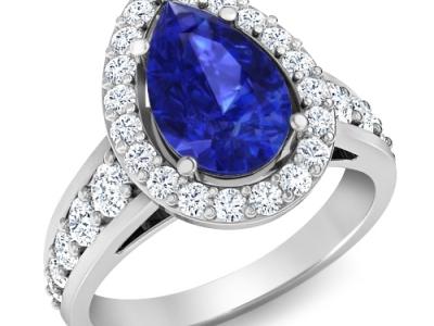 טבעת יהלומים גדולה עם אבן חן 10 קארט ספיר