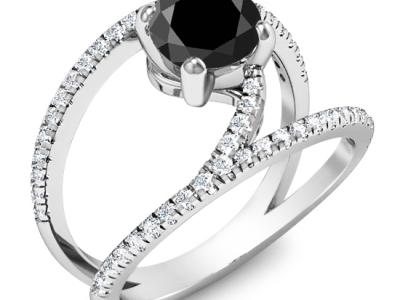 טבעות אירוסין  יהלום שחור גדול מעל קארט