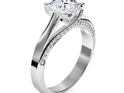 טבעת יהלום מרובע