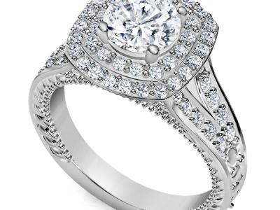 טבעת אירוסין 2 שורות יהומים