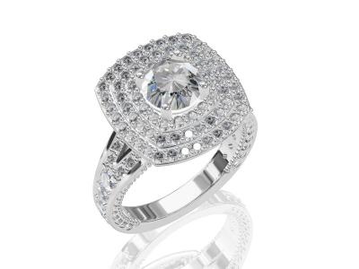 טבעת 3 שורות יהלומים סביב ליהלום המרכזי