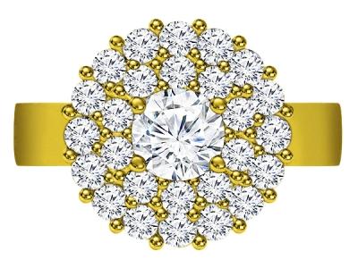 טבעת יהלומים יוקרתית 1 קארט יהלום מרכזי