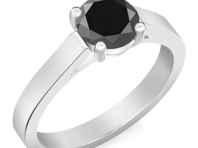 טבעת יהלום שחור 1 קארט