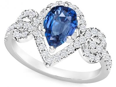 טבעת ספיר בעיצוב טיפה