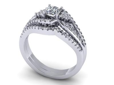 סט טבעות יהלומים טבעת אירוסין טבעת נישואין תואמת