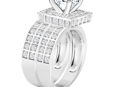 טבעת אירוסין מרובעת,יהלום שסביבו יהלומים