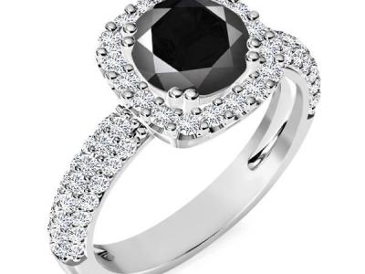 טבעת אירוסין הולו יהלום שחור