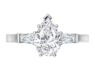 טבעת יהלום בעיצוב טיפה