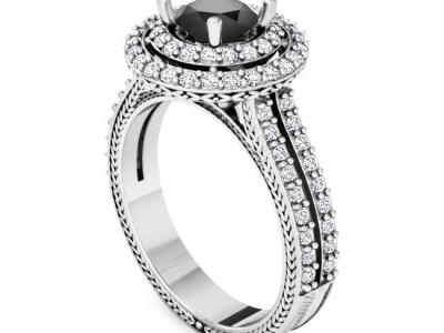 טבעת הולו יהלום שחור מרכזי
