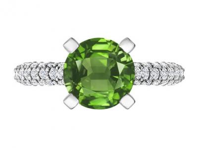 טבעת אבן חן ויהלומים